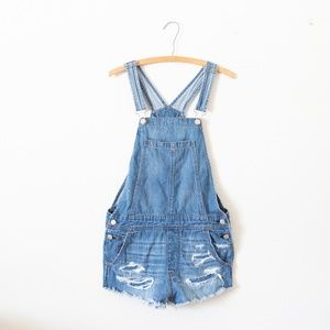 American Eagle Distressed Overall Shorts Small